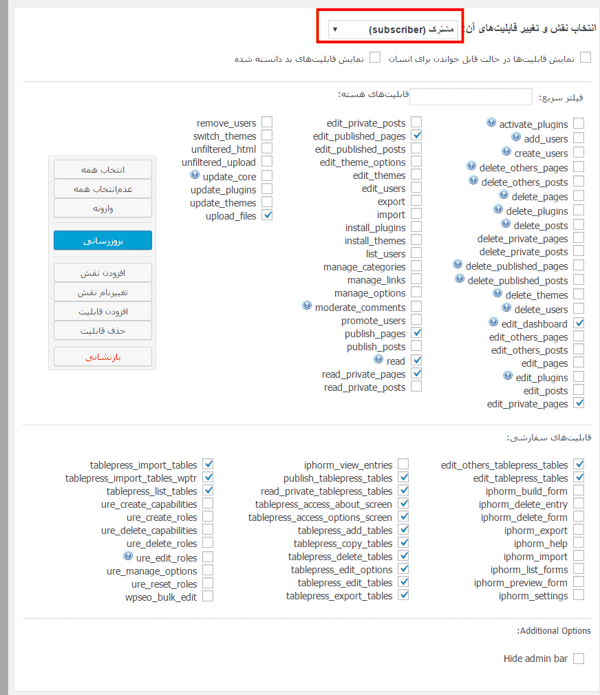 تعیین نقش کاربران در وردپرس