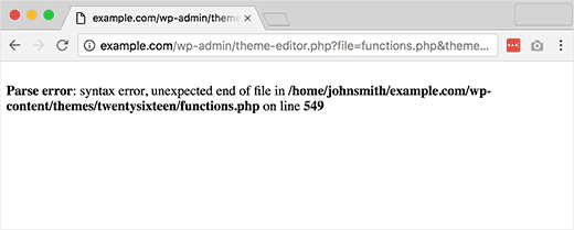 خطای Syntax Error در وردپرس